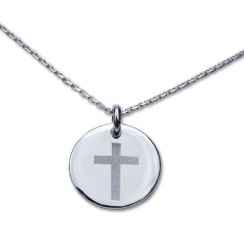 Médaille ronde avec motif croix gravée