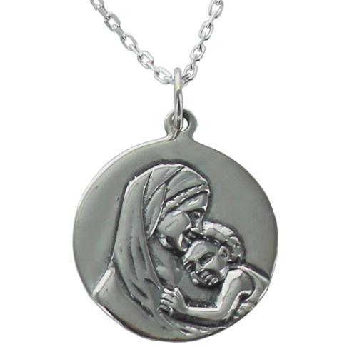 médaille de baptême vierge à l'enfant en argent 925