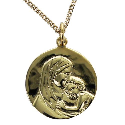 médaille de baptême Madone en plaqué or