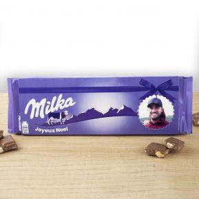 Tablette Milka aux noisettes 270 gr personnalisée photo