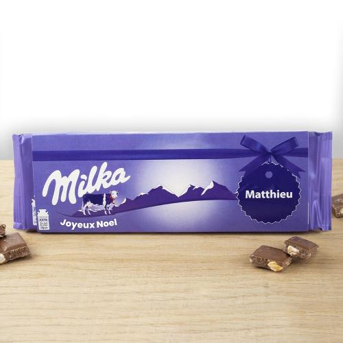 Chocolat noisettes Milka personnalisée prénom