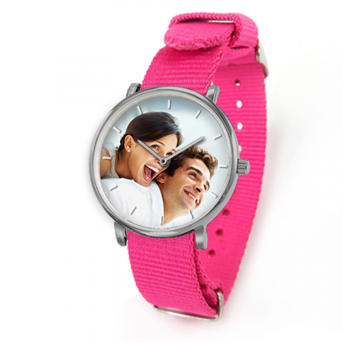 Montre Nato rose avec photo
