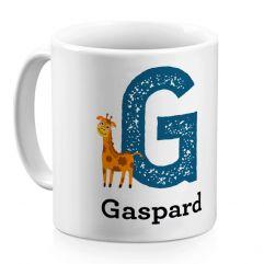 Mug alphabet animal personnalisé prénom