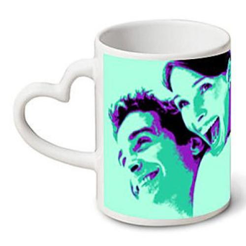 Mug coeur avec photo pop art