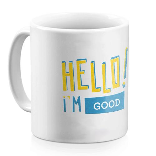 Mug Hello jaune personnalisé