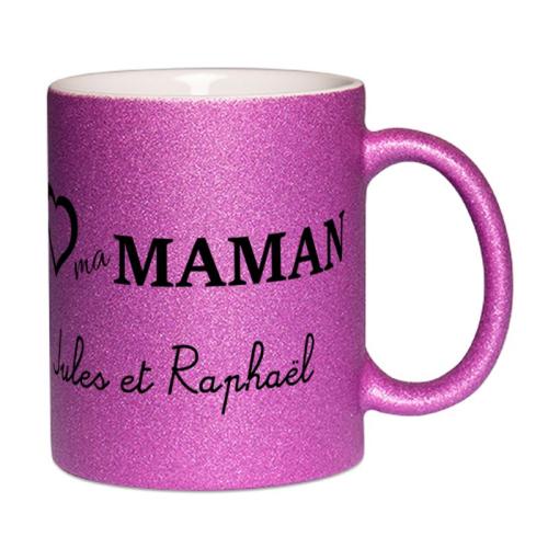 mug à paillettes personnalisé I love Maman