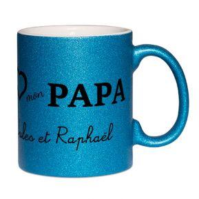Mug à paillettes personnalisé I Love