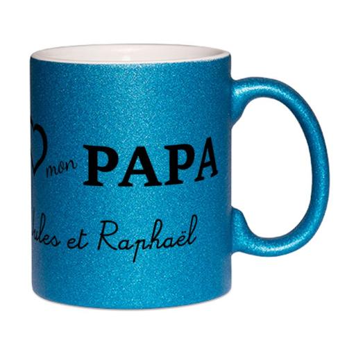 mug à paillettes personnalisé I love Papa