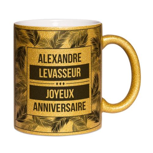 Mug à paillettes dorées personnalisé Palmeraie