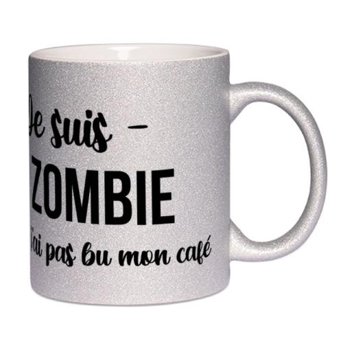 Mug à paillettes personnalisé je suis un zombie