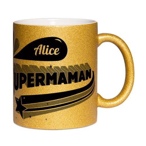 mug à paillettes personnalisé Super Maman