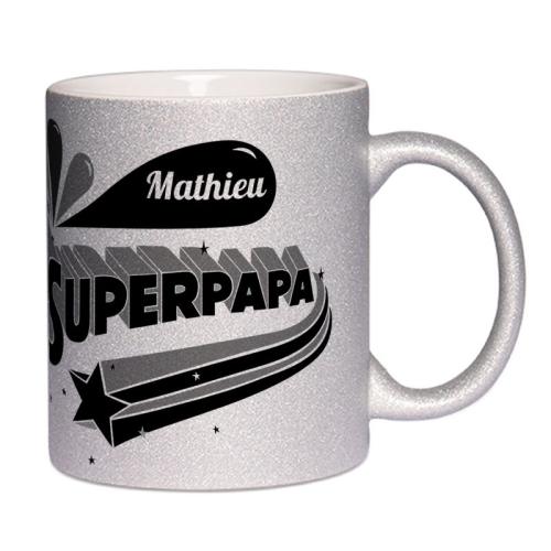 mug à paillettes personnalisé Super Papa
