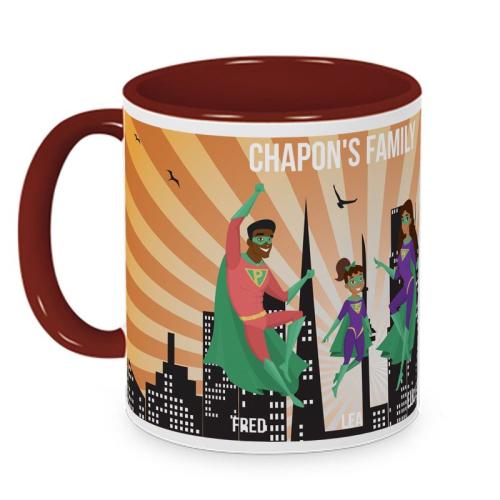 Mug personnalisé super héros dans la ville