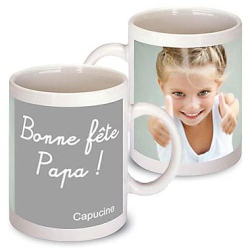Mug photo pour papa gris
