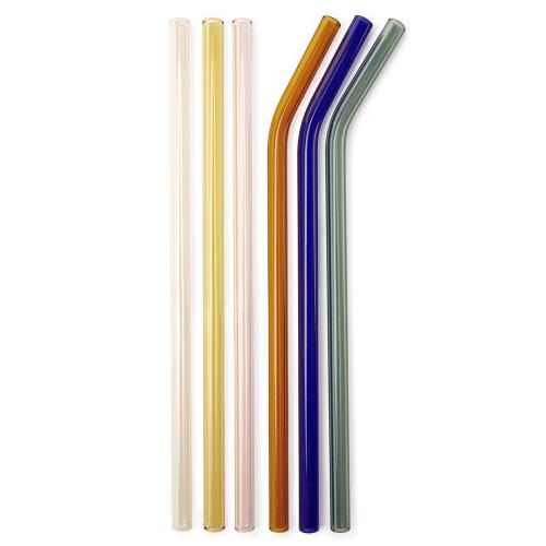 6 pailles design en verre
