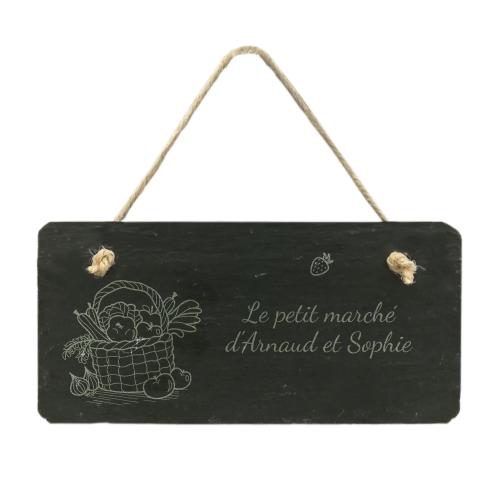 plaque de porte en ardoise Panier de légumes