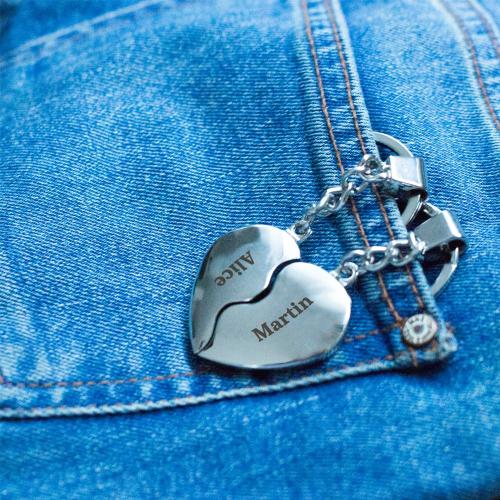 Porte-clés coeur duo gravé