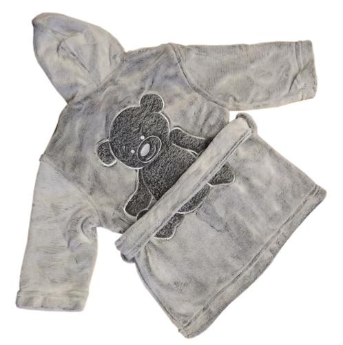 Peignoir polaire personnalisé gris