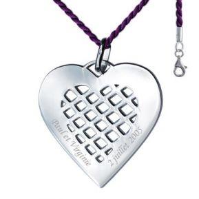 Pendentif coeur quadrillé