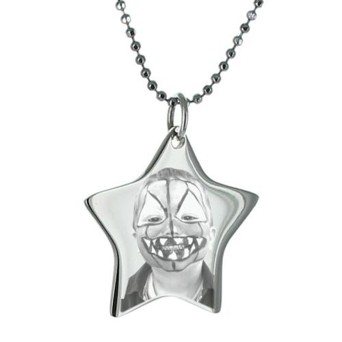 Photo gravée sur étoile en métal argenté
