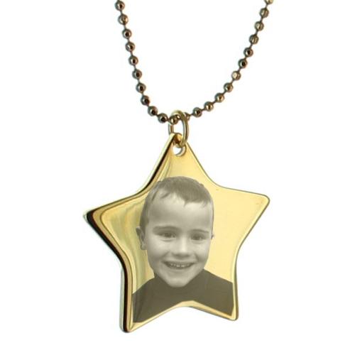 Photo gravée sur étoile en métal doré