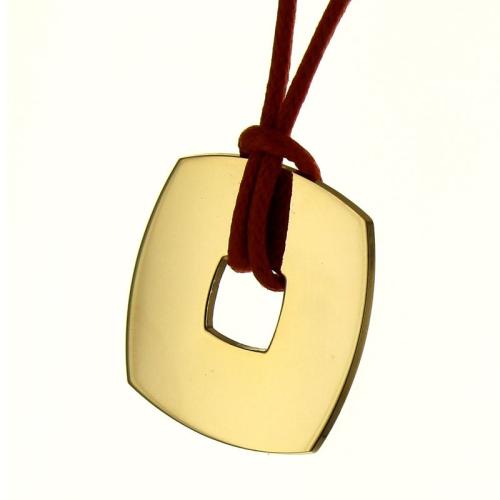 Pendentif jeton carré gravé plaqué or