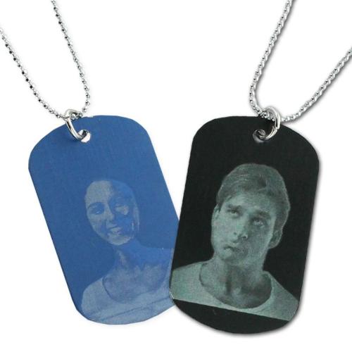 Pendentif photo plaque couleur gravé