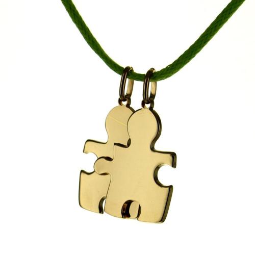 Pendentif Puzzle duo gravé plaqué or