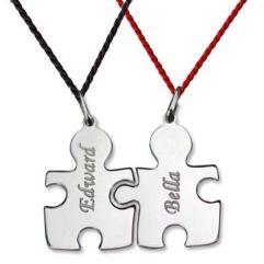 Pendentif Puzzle duo gravé