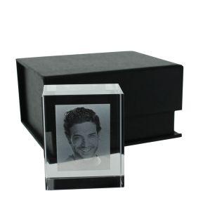 Petit bloc rectangulaire en verre gravé photo