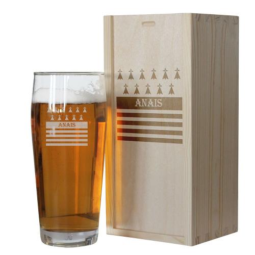 Verre à bière Bretagne personnalisé avec un prénom