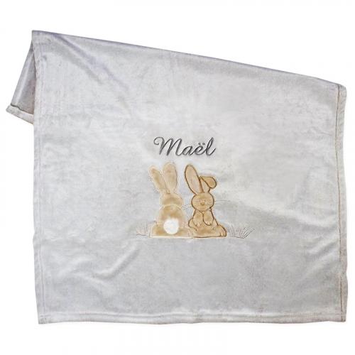 Couverture polaire brodée lapin