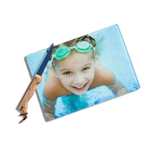 planche à découper en verre personnalisée photo