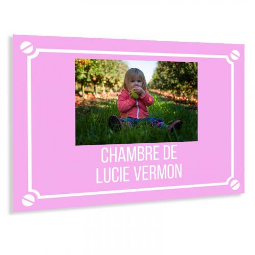 Plaque de rue photo personnalisée rose
