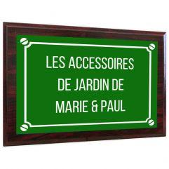 Plaque de rue personnalisée sur support en bois