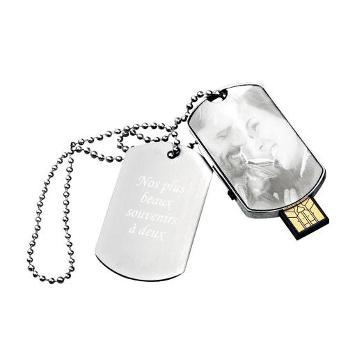 Plaque militaire clé USB gravée photo