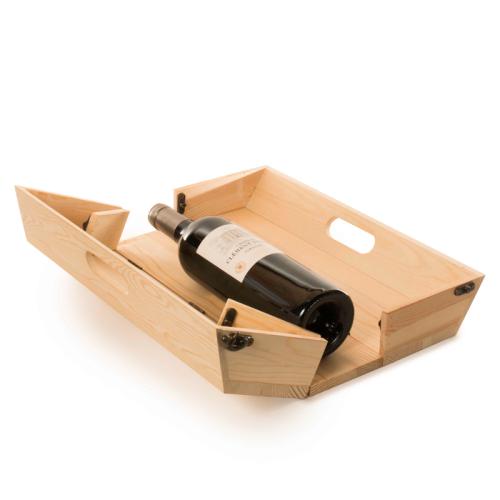 Plateau convertible en caisse à vin