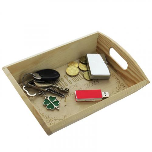plateau Vide-poches en bois gravé