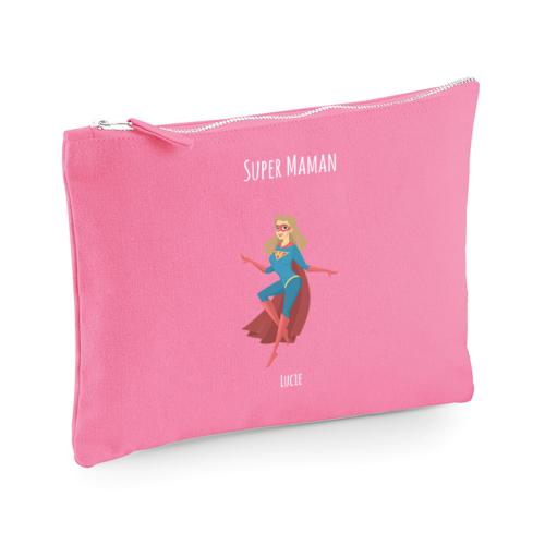 Pochette personnalisée super héros rose