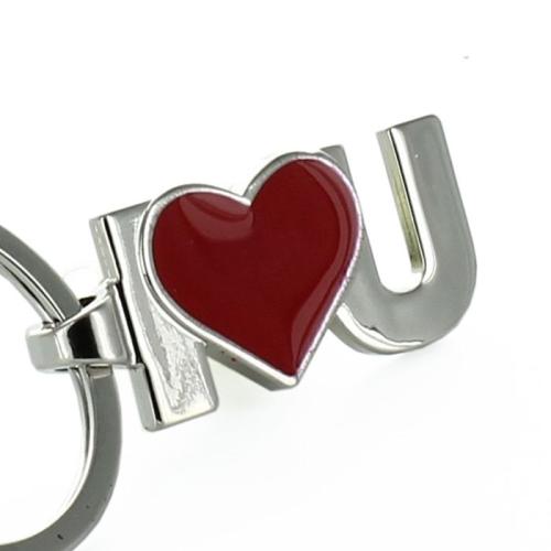 Porte clés I Love U gravé red
