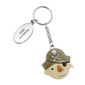 Porte-clés Pirate en bois personnalisé