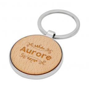 Porte-clés rond en bois personnalisé prénom