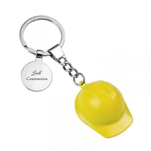 Porte-clés casque de chantier jaune