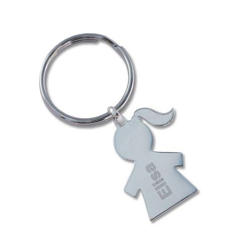 Porte-clés chérubin fille gravé
