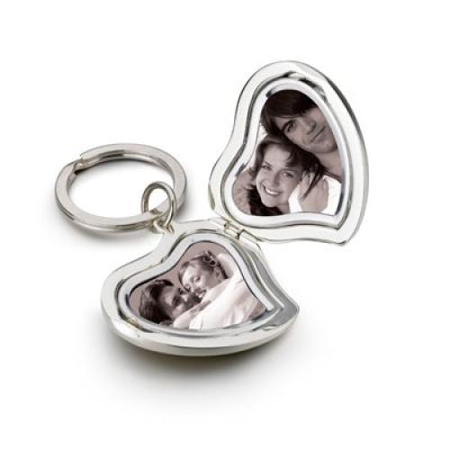 Porte clés coeur double photo gravé