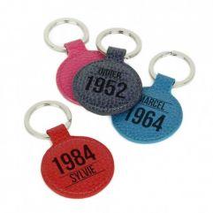 Porte-clés cuir rond personnalisé anniversaire