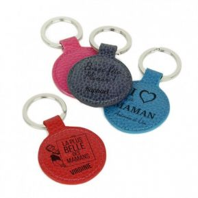 Porte-clés cuir rond gravé fête des mères