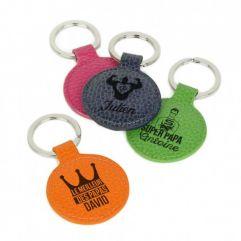 Porte-clés cuir rond gravé fête des pères