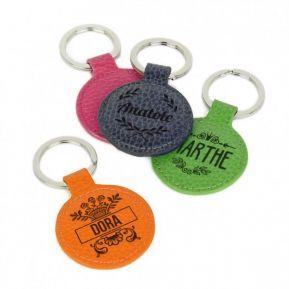 Porte-clés cuir rond gravé prénom