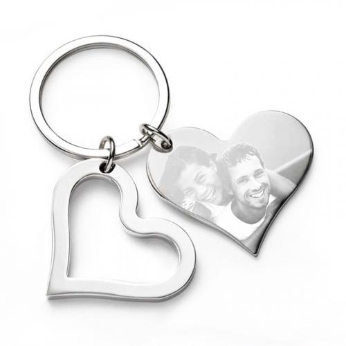 Porte clés deux coeur photo gravé